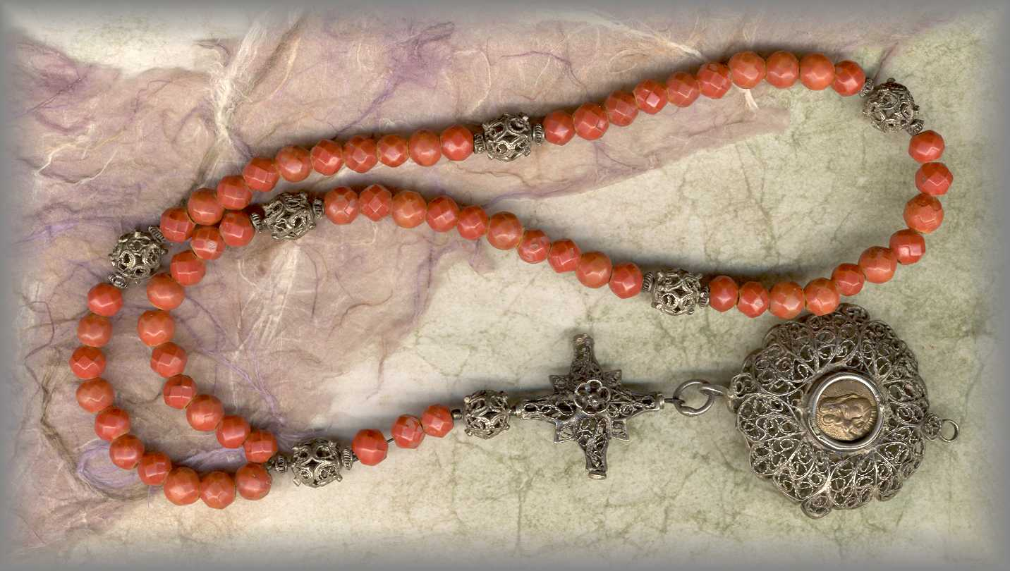 ANTIQUE ROSARY: 18c faceted coral filigree - Bavaria - click for more information