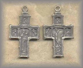 CRX.13 - GREEK ORTHODOX 'TREEN' ICON CROSS - antique, Greece/1840 earlier - (1.75 in.)
