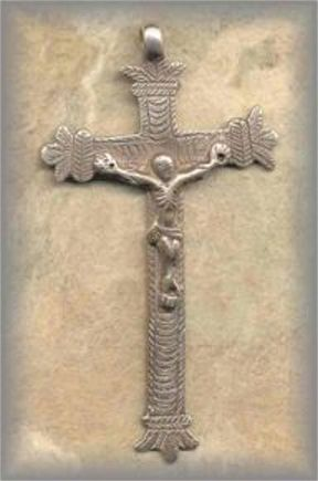 ECRX.78 - CRUCIFIX /ORNATE - antique, Peru/1800s - (3.5 in.)