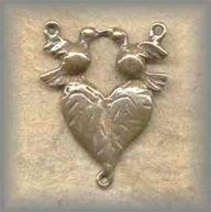ERC.305 - BIRDS with HEART - antique, Latin America/19c - (1 in.)