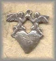 LA.MH.3 - ANGELS with HEART - antique, Latin America/19c - (1 in.)