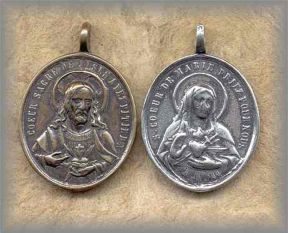 RW.M.2H.01 - TWO HEARTS (Mary /Jesus) - Europe/1880s - (1.5 in.)