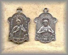 M.SJ.1 - SACRED HEART and ST JUDE -  antique, Italy/1910s - (1.25 in.)