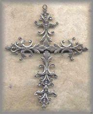 CRO.12 - LARGE ORNATE - FILIGREE - antique, Europe/mid 20c - (3 in.)